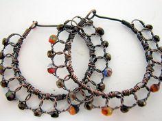 Wire Crochet Hoop Earrings, Czech Glass, Oxidized Copper