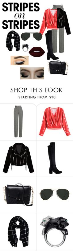 """#Stripy Bad Girl"" by bella-dixion ❤ liked on Polyvore featuring Etro, The Kooples, Stuart Weitzman, Deux Lux, Ray-Ban, Warehouse, Lime Crime, stripesonstripes and PatternChallenge"