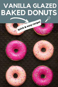 Easy Baking Recipes, Donut Recipes, Dessert Recipes, Baking Ideas, Brunch Recipes, Lemon Layer Cakes, Glaze For Cake, Cupcakes For Boys, Vanilla Glaze