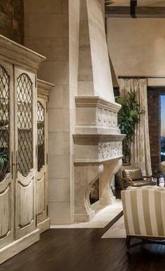 Old World, Mediterranean, Italian, Spanish & Tuscan Homes & Decor Tuscan Home Decorating, Interior Decorating, Interior Design, Tuscan Style Homes, Tuscan House, Fireplace Surrounds, Fireplace Design, Stone Fireplaces, Tuscan Furniture