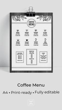 Coffee menu design Coffee Shop Menu, Coffee Logo, Menu Template, Templates, Irish Coffee, Menu Design, Bar, Graphic Design Art, Food
