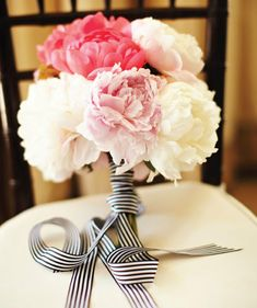 black and white striped wedding bouquet