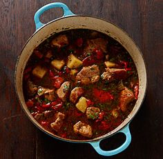 Spicy Pork Stew with Peppers and Potatoes! Oh my stars, get in my bowl! The recipe calls for chipotle peppers but you can use another chile or omit the spice if you wish. Grab some crusty bread or warm tortillas and dig in!