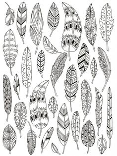 Zentangle feathers colouring page Doodle Art, Doodle Drawings, Bird Doodle, Hand Drawings, Doodle Patterns, Zentangle Patterns, Embroidery Patterns, Doodles Zentangles, Henna Patterns