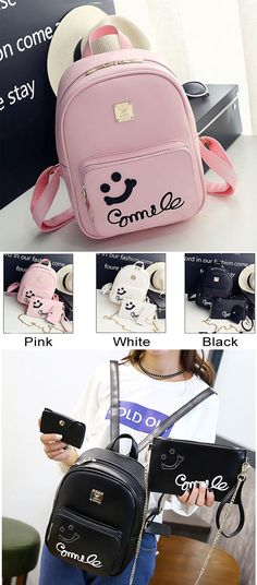 Cute Smile Face Black Pink Solid Girl's Backpack Gift Two Small Clutches is very cute backpack. #backpack #smile #face #girl #bag #rucksack #College #gift #school #students