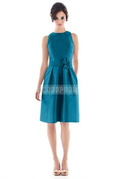 Natural Waist Knee Length Blue Floral Jewel Bridesmaid Dress