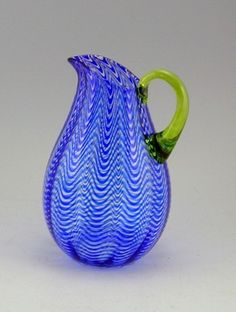 Sam Stang Wavy Blue Lined Glass Pitcher w/ Lime Handle (at Bluestem Missouri Crafts) Modern Pitchers, Glass Pitchers, Glass Vessel, Glass Art, Cobalt Blue, Blue Green, Marbles, Hand Blown Glass, Blues