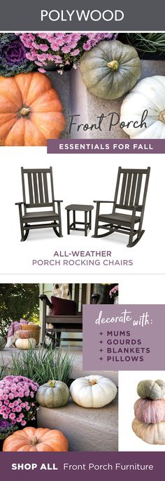 Front Porch Fall Essentials Stay cozy this fall season with POLYWOOD's perfect porch essentials! Florida Decorating, Porch Decorating, Decorating Ideas, Decor Ideas, Porch Chairs, Outdoor Chairs, Outdoor Spaces, Outdoor Living, Fall Home Decor
