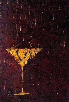 《金色の雨とすてきなのみもの》✔ キャンバスに油彩、インク 227mm×158mm/2010