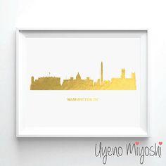 Washington DC Skyline Gold Foil Print Gold Print by UyenoMiyoshi