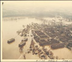 Ohio University Campus aerial view of 1964 flood. :: Ohio University Archives