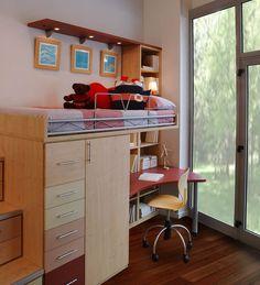 R79 - Juvenil compacto de cama alta con biblioteca, mesa de estudio, pequeño armario y cajonera inferior - Facil Mobel, fábrica de muebles a medida en barcelona, catálogo de armarios, juveniles, salones, dormitorios matrimoniales y complementos. Ofertas y solicitud de presupuestos.