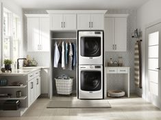 Laundry Nook, Small Laundry, Laundry Room Design, Stackable Washer And Dryer, Stacked Washer Dryer, Modern Laundry Rooms, Laundry Appliances, Unique Flooring, Front Load Washer