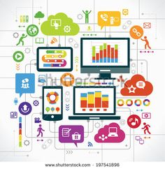 flat design background the Communications in a global computer network. Vector concept network marketing. Smartphone, tablet, laptop, monitor surrounded interface icons, speech bubbles and clouds.