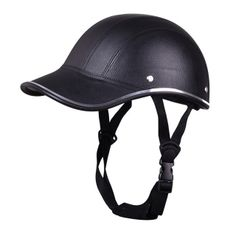 Motorcycle Anti-UV Helmet Baseball Cap Style Plaid Safety Half Helmet Black