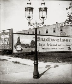 Lamppost at the northeast corner of Delmar and Union Boulevards. Budweiser billboard in the background. Picture Arrangements, Over The Bridge, St Louis Mo, The Hard Way, Historical Society, Missouri, Vintage Photos, The Neighbourhood, Collective Soul