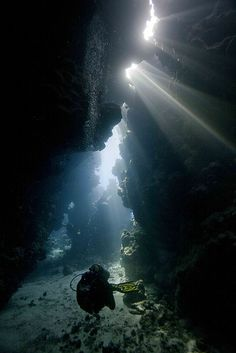 Exploring the underwater caves of the Red Sea, Egypt (by Stephen Ennis).