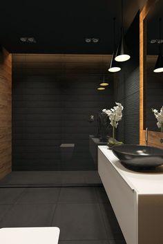 22 Best Black Floor Tile Design Ideas For Your Modern Bathroom Washroom Design, Toilet Design, Bathroom Interior Design, Modern Interior Design, Dream Bathrooms, Beautiful Bathrooms, Contemporary Bathrooms, Modern Bathroom, Contemporary Decor