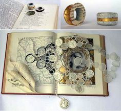 Altered book jewellery Must go to website. The creations of Betty Pepper (Book Keeping) from old books are beautiful! Book Crafts, Paper Crafts, Art Altéré, Altered Book Art, Book Sculpture, Sculpture Ideas, Art Sculptures, Book Jewelry, Book Journal