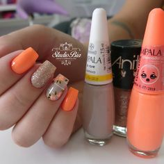 Make an original manicure for Valentine's Day - My Nails Square Nail Designs, Nail Art Designs, Homecoming Nails, Hot Nails, Orange Nails, Square Nails, Flower Nails, Perfect Nails, Simple Nails