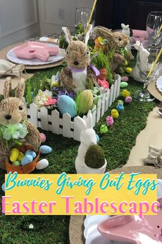 Bunnies Giving Out Eggs for Easter Tablescape. Our Easter Table Decor this year is loaded with Bunnies, little chicks and we even used lambs to complete our Easter Dining room. It's botanical, whimsical and fun. Easter Egg Candy, Easter Party, Crafts To Make, Diy Crafts, Easter Table Decorations, Dollar Store Crafts, Food Themes, Lambs, Seasonal Decor