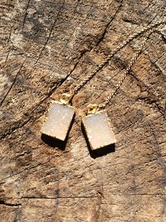 24K gold electroplated druzy threader earrings by TaurusHeart