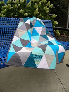 Raindrops Quilt - triangle quilt backed with Summersville