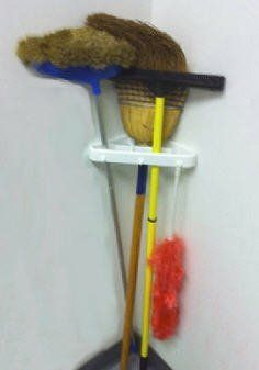 Corner Broom and Tool Holders (Set of 2) by Jobar. $9.99. Corner Broom and Tool Holders (Set of 2)  Maximize space and eliminate garage or kitchen clutter.   The corner tool organizer has nine sections to hold brooms, mops, shovels, dusters, rakes, hoes etc. Also has three convenient hooks for dust pans, wisks or towels.  A clean and simple storage unit that features stand up slots for long handled tools, and hooks for smaller items.  Mounting hardware included. Can also...