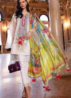 Off White Cotton Zari Work Designer Party Wear Pakistani Suits Sana Safinaz Lawn Vol 19 900007 By Deepsy Pakistani Dresses Casual, Pakistani Suits, Indian Dresses, Casual Dresses, Fashion Dresses, Pakistani Dramas, Winter Dresses, Simple Dresses, Fashion Pants