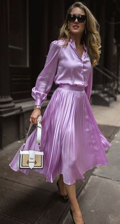 The Resources We Use, Love and Think You Should Know About // Lilac silk button-up blouse with puff shoulders and blouson sleeves + matching lilac pleated satin midi-skirt, cat-eye acetate sunglasses, Satin Midi Skirt, Dress Skirt, Moda Formal, Best Street Style, Satin Bluse, Fashion Outfits, Womens Fashion, Fashion Trends, Nyc Fashion