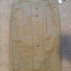 Skirt Tan pencil skirt with buttons! Never worn! Worthington Skirts Pencil