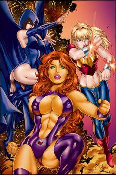 """Titans Girls"" by Ed Benes | Starfire, Wonder Girl, Raven | #DC #Comics #DCComics #Titans #Starfire #Raven #WonderGirl"