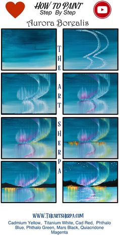 Easy Aurora Borealis Acrylic Painting Tutorial Step By Step Live Streaming The Art Sherpa Acrylic Painting Flowers, Simple Acrylic Paintings, Acrylic Painting Techniques, Acrylic Painting Canvas, Acrylic Art, Pour Painting, Canvas Canvas, China Painting, Art Paintings