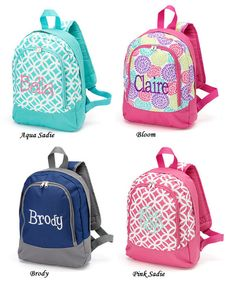 Personalized preschool/ Kindergarten backpacks for girls and boys matching accessories also available.