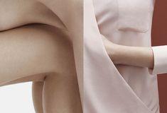 La directrice artistique Charlotte Heal et le photographe Mark Sanders ont collaboré pour créer cette série de diptyques dans lesquels les lignes formées par des corps nus traversent les images pour continuer dans les vêtements de l'image adjacente.