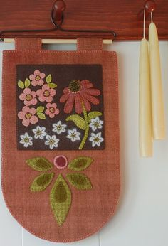 Wool applique wall hanging coneflower hand dyed hooking wool felted primitive folk art penny rug plaid wool