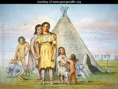A Comanche family outside their teepee, 1841 - George Catlin - kp