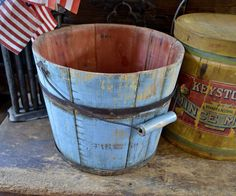 Fantastic Circa 1800s Wooden Shaker Pail in Original Blue Paint | eBay