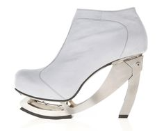 Womans shoe ( leather, ice grey, stainless steel )