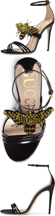 Gucci Ilse Bee-Embellished Leather Sandal