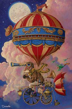 "Bob Doucette-"" Toboland or Bust"" - Limited Edition- Canvas Giclee Prints Air Ballon, Hot Air Balloon, Balloon Illustration, Illustration Art, Art Steampunk, Steampunk Airship, Art Fantaisiste, Whimsical Art, Surreal Art"