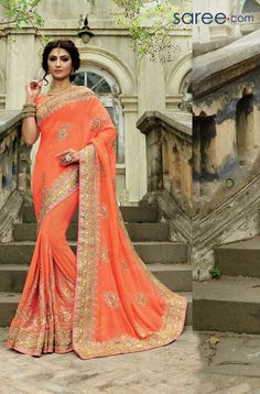 Orange Georgette Buy Sarees Online Cash On Delivery ,Indian Dresses - 1 Latest Indian Saree, Indian Sarees, Indian Wedding Outfits, Indian Outfits, Half Saree Lehenga, Sari, Reception Sarees, Wedding Reception, Bridal Sarees Online