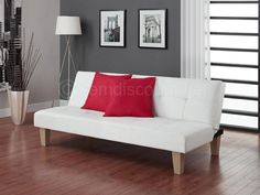 Tufted White Leather Futon Folding Recliner Couch Sofa Bed Convertible Sleeper #LuxuryFurniture