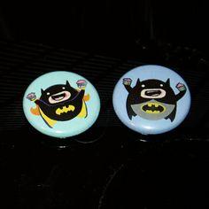 Batman & Batgirl Eatin' Cupcakes  set of 1 buttons by anilineblack, $2.50