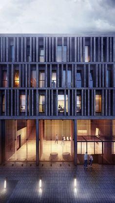 Visualización en Arquitectura: Maison du Batiment d'Aquitaine / Pawel Podwojewski An interesting facade.