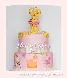 © Natty Cakes Custom Cakery | Pink Safari 1st Birthday Cake