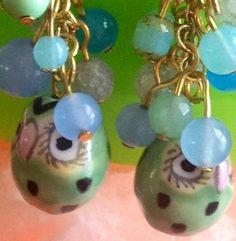 NEW!  Baby Blue and Sea Mint Gemstone Owl Earrings by EvezBeadz.ArtFire.com