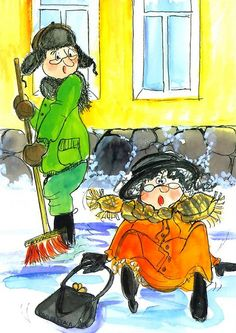 Postcrossing postcard from Finland Winter Illustration, Cute Illustration, Painting For Kids, Art For Kids, Christmas Books, Funny Cards, Whimsical Art, Kids Cards, Vintage Images