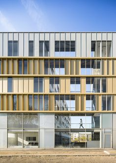 "Completed in 2015 in Vaulx-en-Velin, France. Images by Sergio Grazia. This new social housing residence comprising 92 apartments aims to replace the ""Mas du Taureau"" hostel which is programmed to be demolished. Building Exterior, Building Facade, Building Design, Social Housing Architecture, Architecture Résidentielle, Sustainable Architecture, Glass Facades, Small Buildings, Facade Design"