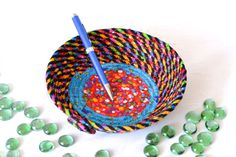 Catchall Basket, Handmade Fun Bowl ......Funky Gift Basket by WexfordTreasures